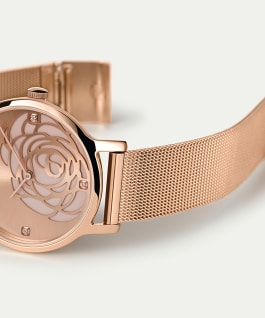 Transcend Floral 34mm Stainless Steel Mesh Band Watch Rose-Gold-Tone large