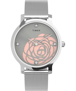 Transcend Floral 34mm Stainless Steel Mesh Band Watch Silver-Tone large