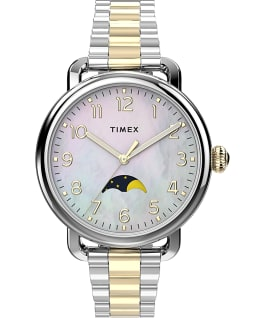 Timex Standard 34mm Stainless Steel Bracelet Watch with Moon Phase Silver-Tone/Two-Tone/Mother-of-Pearl large