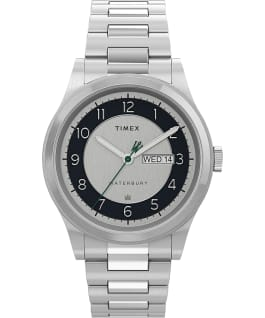 Waterbury Traditional Day Date 39mm Stainless Steel Bracelet Watch Stainless-Steel/Silver-Tone large