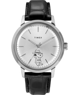 Marlin Automatic x Peanuts Featuring Snoopy Secret Agent 40mm Leather Strap Watch Stainless-Steel/Black/Silver-Tone large