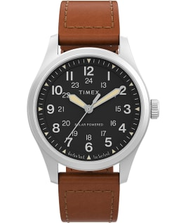 Expedition North Field Post Solar 36mm Eco-Friendly Leather Strap Watch Stainless-Steel/Brown/Black large