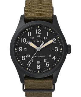 Expedition North Field Post Solar 36mm Recycled Fabric Strap Watch IP-Black/Tan/Black large
