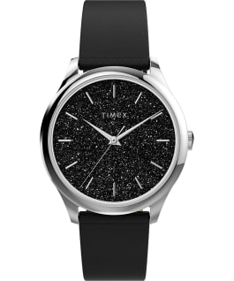 Celestial Opulence 32mm Textured Fabric Strap Watch Silver-Tone/Black large