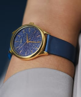 Celestial Opulence 32mm Textured Fabric Strap Watch Gold-Tone/Blue large
