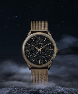 Celestial Opulence 32mm Stainless Steel Mesh Band Watch Gold-Tone/Black large
