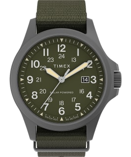 Expedition North Field Post Solar 41mm Recycled Fabric Strap Watch Gunmetal/Green large