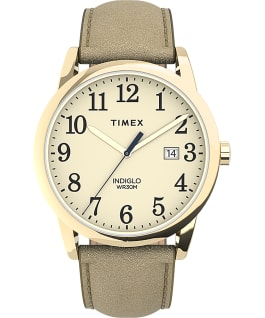Easy Reader 38mm Leather Strap Watch Gold-Tone/Cream large