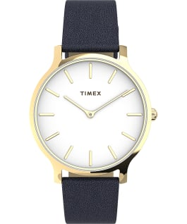 Transcend 38mm Leather Strap Watch AMZ Gold-Tone/Blue/White large