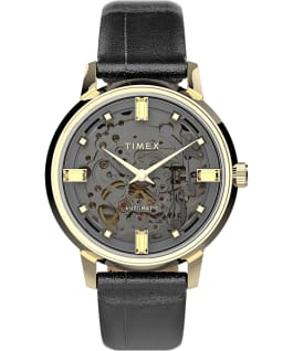 Unveil Automatic 38mm Leather Strap Watch Gold-Tone/Black/Gray large