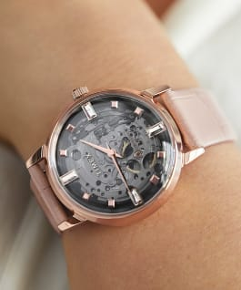 Unveil Automatic 38mm Leather Strap Watch Rose-Gold-Tone/Pink/Gray large