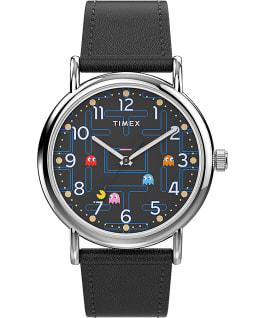 Montre Timex Weekender x PAC MAN 38mm Bracelet en cuir Argenté/Noir large