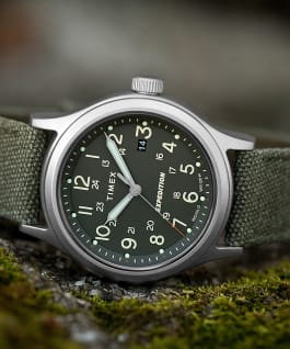 Expedition Sierra 41mm Fabric Strap Watch Stainless-Steel/Green large