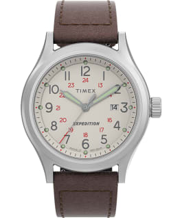 Expedition Sierra 41mm Leather Strap Watch Stainless-Steel/Brown/Cream large