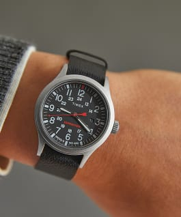 Expedition Sierra 40mm Leather Strap Watch IP-Steel/Black large