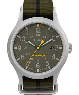 Expedition Sierra 40mm Fabric Strap Watch IP-Steel/Green large