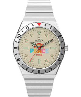 Q Timex x Coca Cola Unity Collection 38mm Stainless Steel Bracelet Watch Stainless-Steel/Cream large