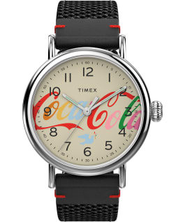 Timex Standard x Coca Cola Unity Collection 40mm Fabric Strap Watch Silver-Tone/Black/Cream large