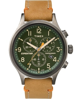 Expedition Scout Chronograph 42mm Leather Watch, Gray/Tan/Green, large