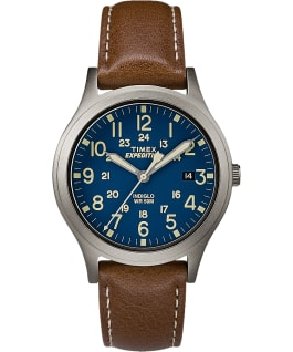 Expedition Scout Midsize 36mm Leather Watch Titanium/Brown/Blue large