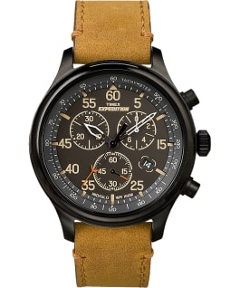 Expedition Field Chronograph 43mm Leather Strap Watch Black/Tan large