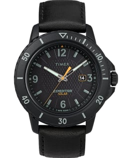 Expedition Gallatin Solar 44mm Leather Strap Watch Black large