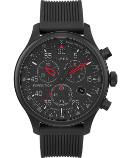 Expedition Field Chronograph 43mm Resin Strap Watch AMZ Black large