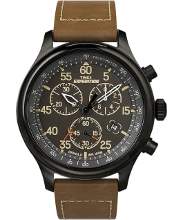 Expedition Field Chronograph 43mm Leather Strap Watch AMZ Black/Brown large