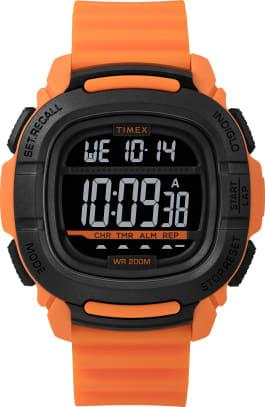 Zegarek BST z kopertą 47 mm i silikonowym paskiem Pomarańczowy/Czarny large