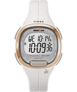 TIMEX IRONMAN Transit with Timex Pay 33mm Resin Strap Watch, White/Rose-Gold-Tone, large