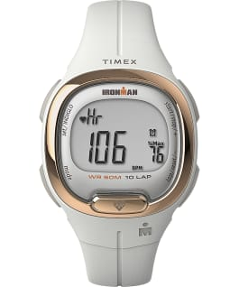 TIMEX IRONMAN Transit+ 33mm Resin Strap Activity and Heart Rate Watch, White/Rose-Gold-Tone, large