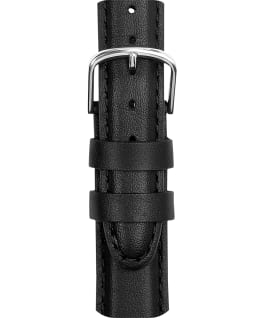 18mm Mens Leather Strap with Silver Buckle Black large