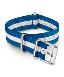 18 mm gestreiftes Durchzugarmband aus doppellagigem Textil Blau large