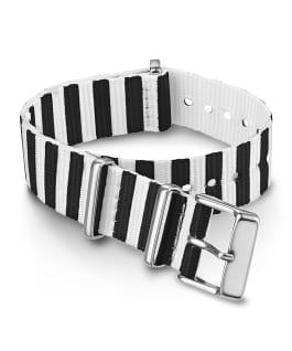 18 mm gestreiftes Durchzugarmband aus doppellagigem Textil Schwarz large