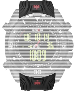 Replacement 24mm Resin Strap for Ironman Classic Dual Tech, Black, large