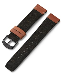 20mm Leather and Fabric Strap Black large