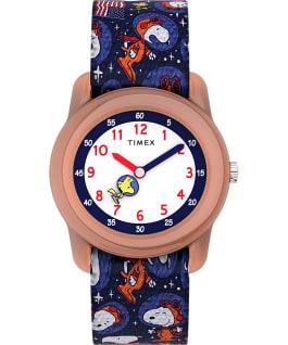 Orologio Timex x Snoopy nello spazio Kids Analog 28 mm con cinturino in tessuto elastico Arancione/Blu large
