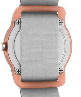 Reloj analógico para niños Timex x Snoopy in Space de 28mm con correa de tela elástica Naranja/Azul large