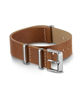20mm Leather Slip Thru Double Layer Strap with Timex Pay Brown large