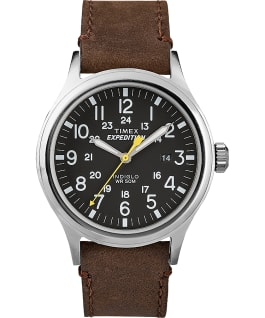 Expedition Scout 40mm Leather Watch Silver-Tone/Brown/Black large