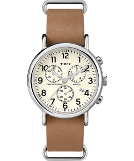 Weekender Chronograph 40mm Leather Strap Watch Silver-Tone/Tan/Cream large