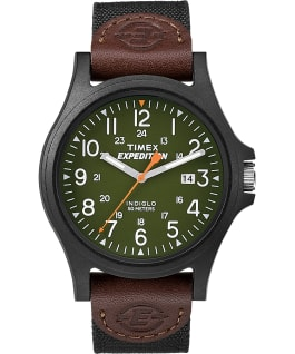 Acadia Date 40mm Fabric Strap Watch Black/Green large