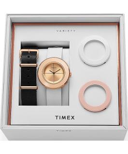 Coffret montre à bracelet en cuir Variety 34mm Or rose/Blanc large