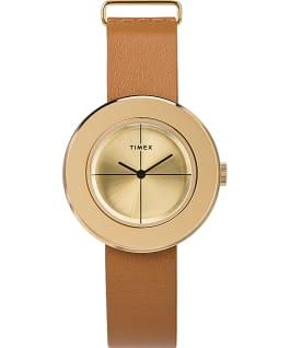 Zegarek Variety z kopertą 34 mm i skórzanym paskiem w zestawie prezentowym Złoty/Jasnobrązowy large