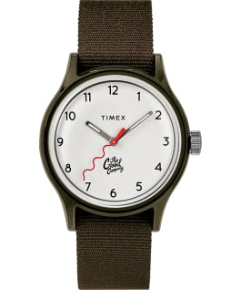 The Good Company for Timex MK1 36mm Fabric Strap Watch with Extra Strap Green/White large