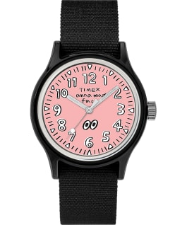 Timex x Face x Anna Analog Life 36mm Fabric Strap Watch Black/Pink large