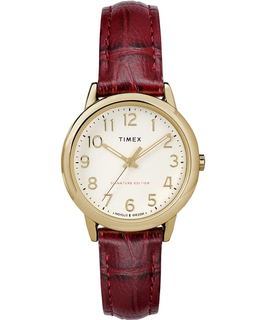 Easy Reader Signature 30mm Leather Watch Timex