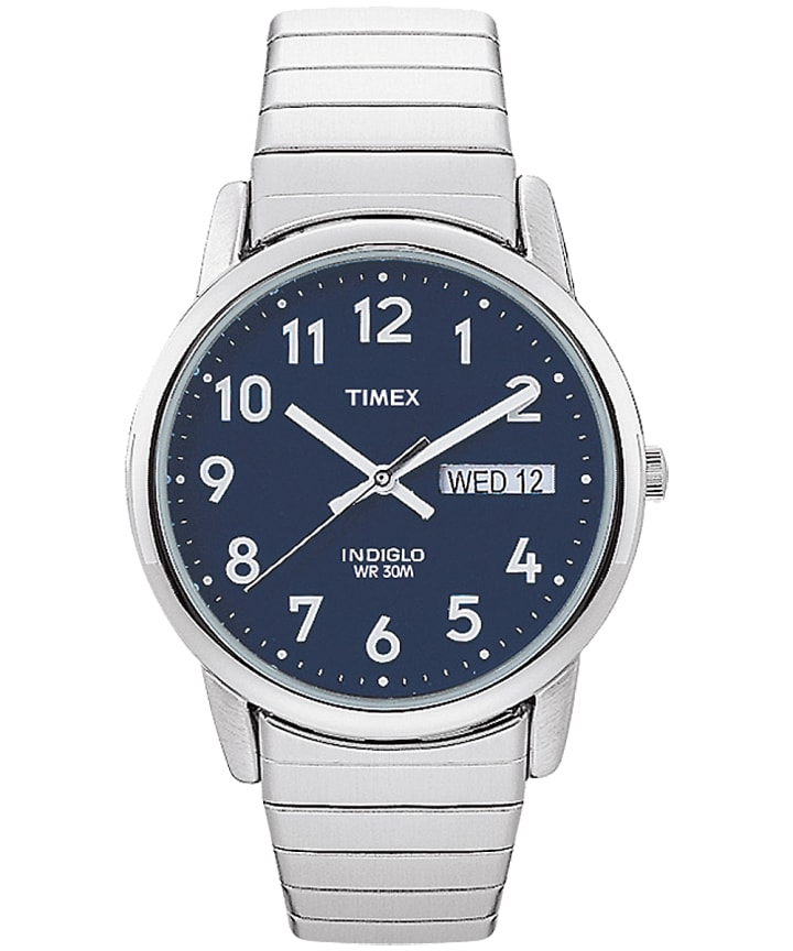 Easy Reader Day Date 35mm Expansion Band Watch Silver-Tone/Stainless-Steel/Blue large