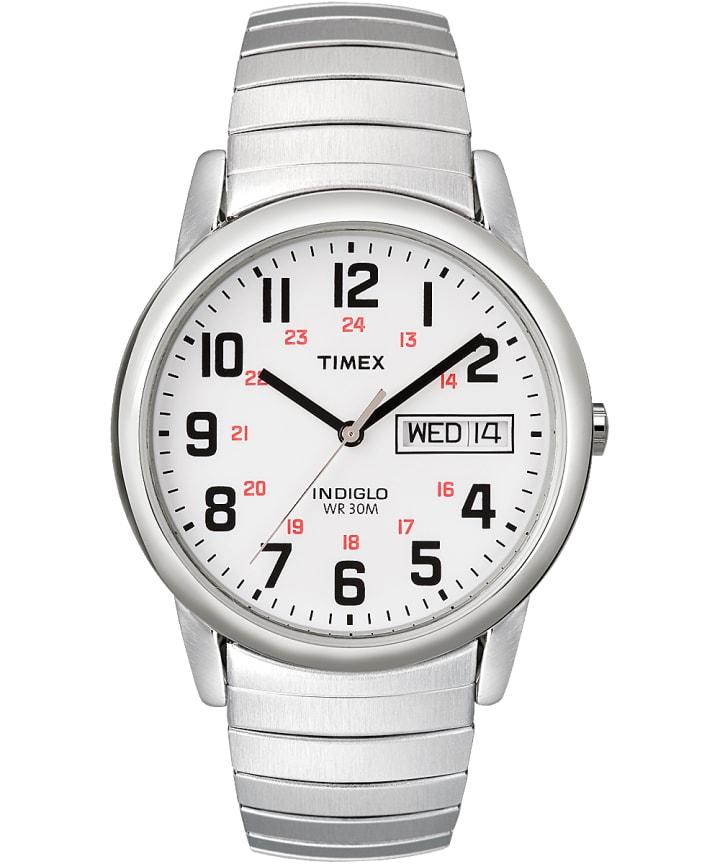 Reloj Easy Reader Day Date de 35mm con fecha y día y correa extensible Silver-Tone/Stainless-Steel/White large