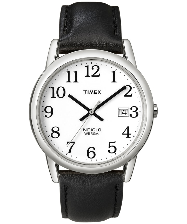 Easy Reader 35mm Leather Watch with Date  large